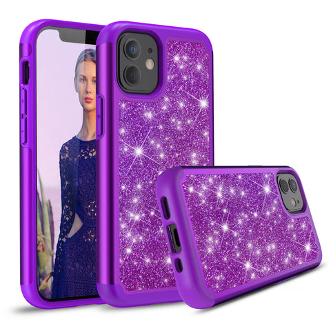 Sparkling Glitter Case for iPhone 12 (Purple)