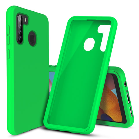 Silicone Case with Built-in Screen Protector for Samsung Galaxy A21 (Green)