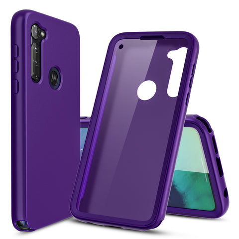 Purple Full Body Phone Case with Built-in Screen Protector for Moto G Stylus
