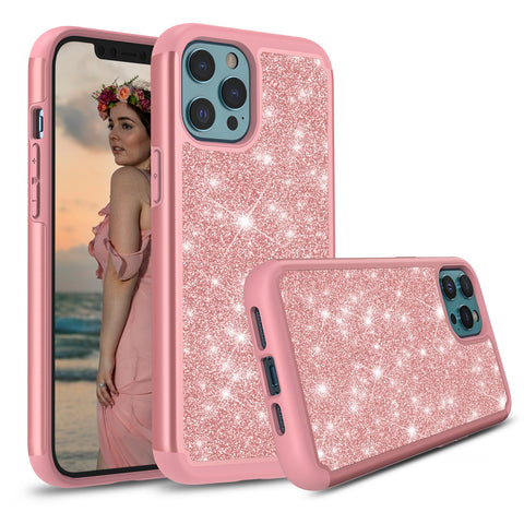 Sparkling Glitter Case for iPhone 12 Pro (Pink Rose Gold)