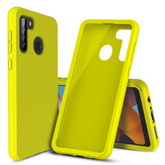 Silicone Case with Built-in Screen Protector for Samsung Galaxy A21 (Yellow)
