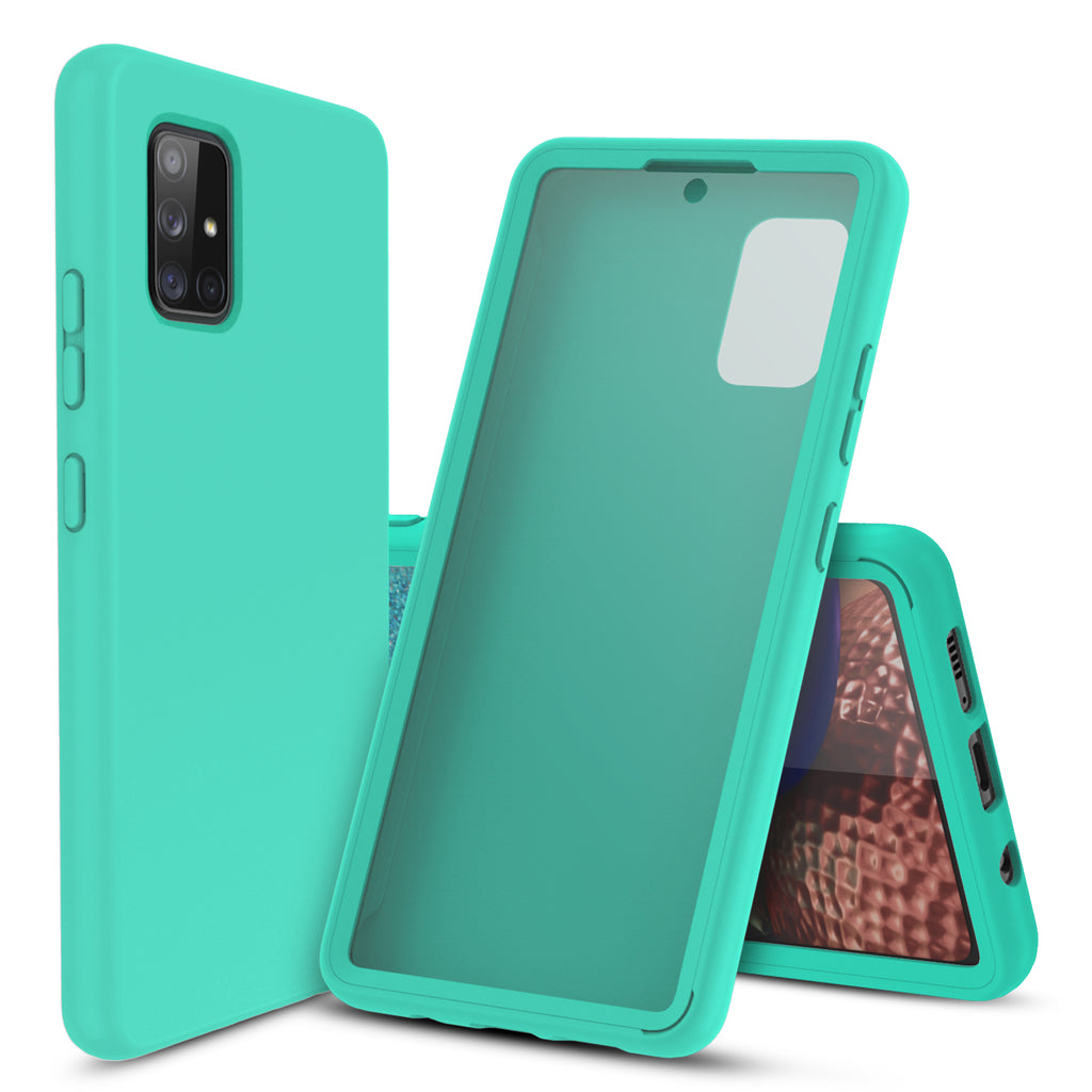 Full Body Case with Built-in Screen Protector for Samsung Galaxy A71 5G (Pastel Mint)