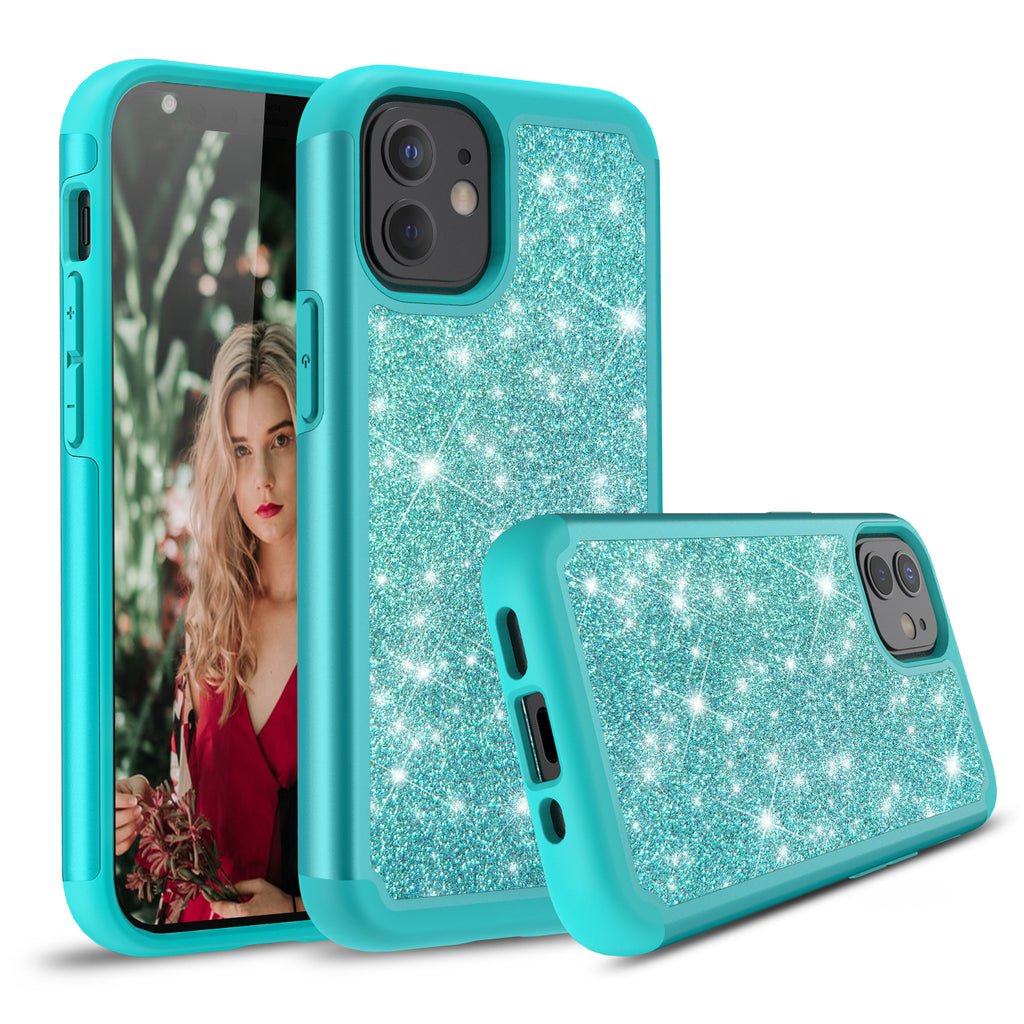Sparkling Glitter Case for iPhone 12 (Teal)