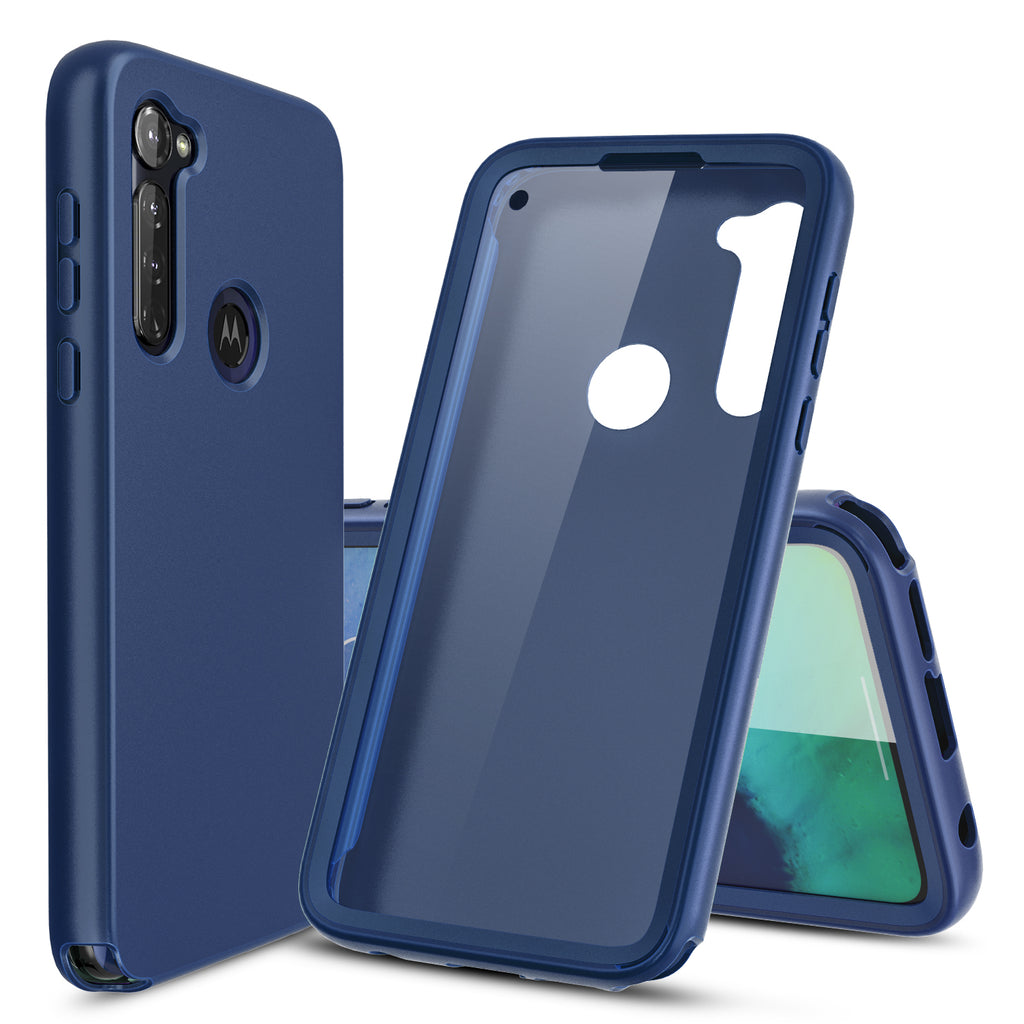 Navy Blue Full Body Phone Case with Built-in Screen Protector for Moto G Stylus