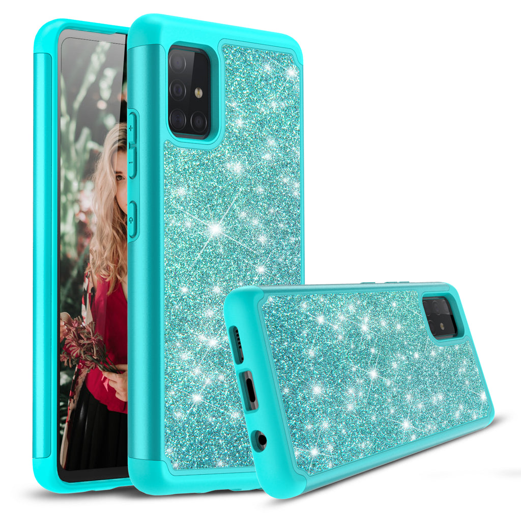Sparkling Glitter Case for Samsung Galaxy A71 5G UW (Teal)