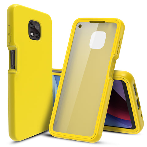 Full Body Case with Built-in Screen Protector for Motorola Moto G Power (2021) (Yellow)