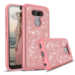 Pink Rose Gold Sparkling Glitter Case for LG Aristo 5, Tribute Monarch, K8X, K31