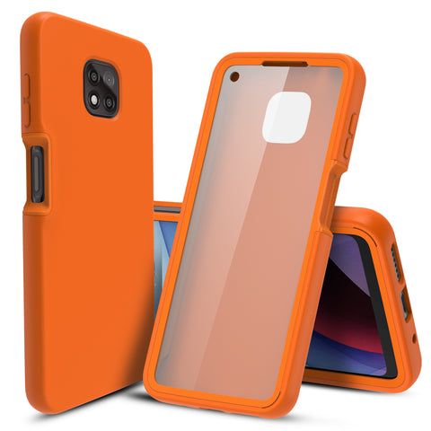 Full Body Case with Built-in Screen Protector for Motorola Moto G Power (2021) (Orange)