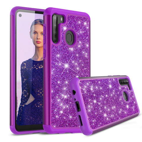 Sparkling Glitter Case for Samsung Galaxy A21 (Purple)