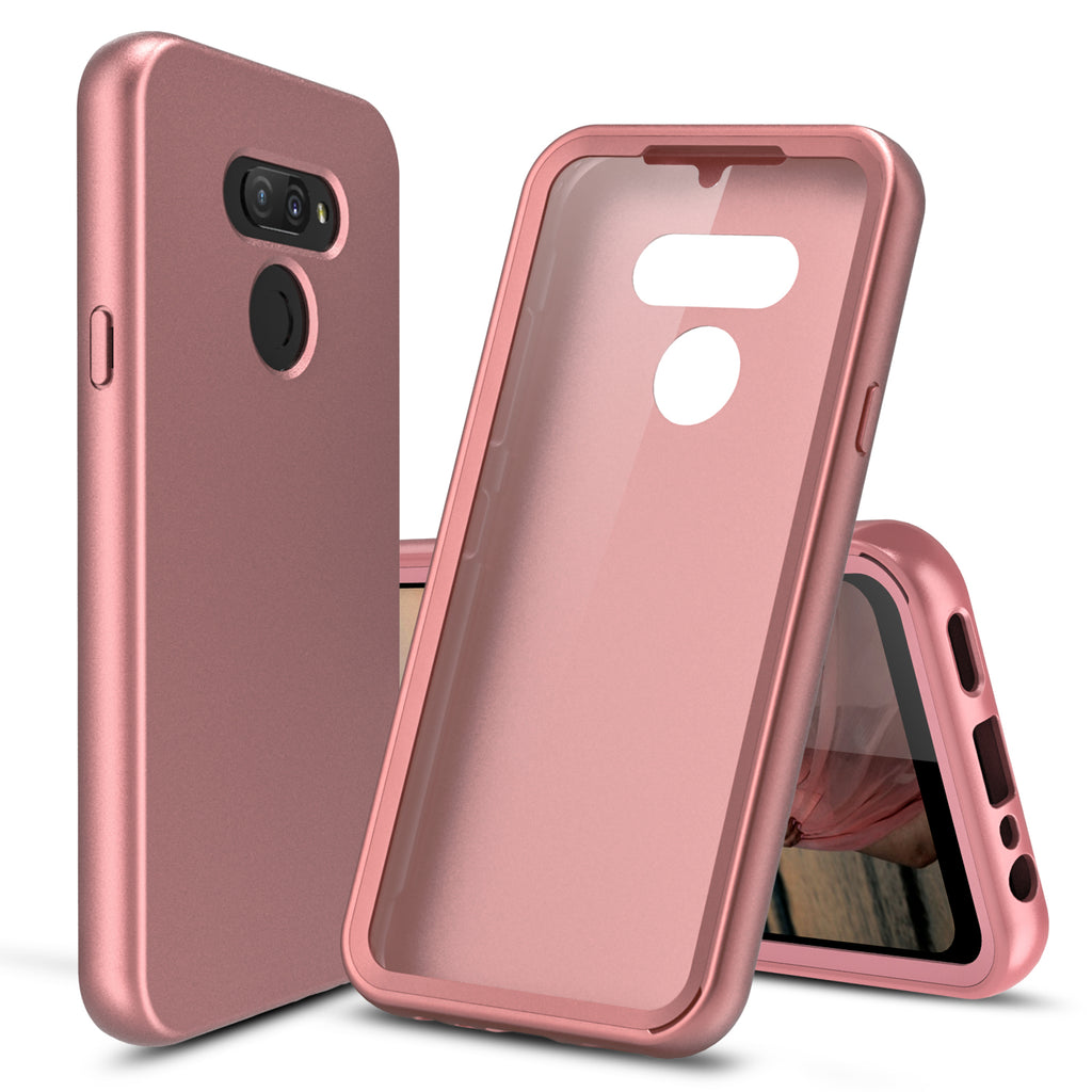 Silicone Case with Built-in Screen Protector for LG Premier Pro Plus (Pink Rose Gold)