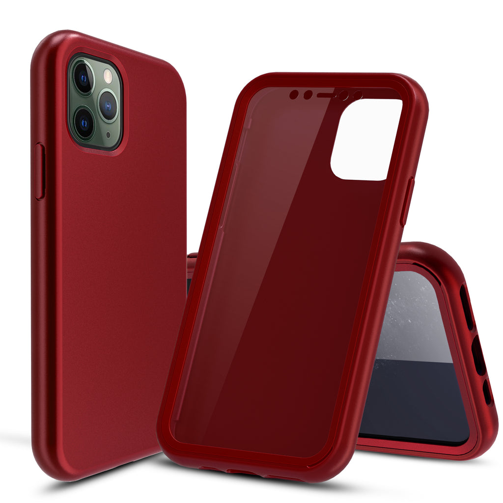 Red Silicone Case with Built-in Screen Protector for iPhone 11 Pro