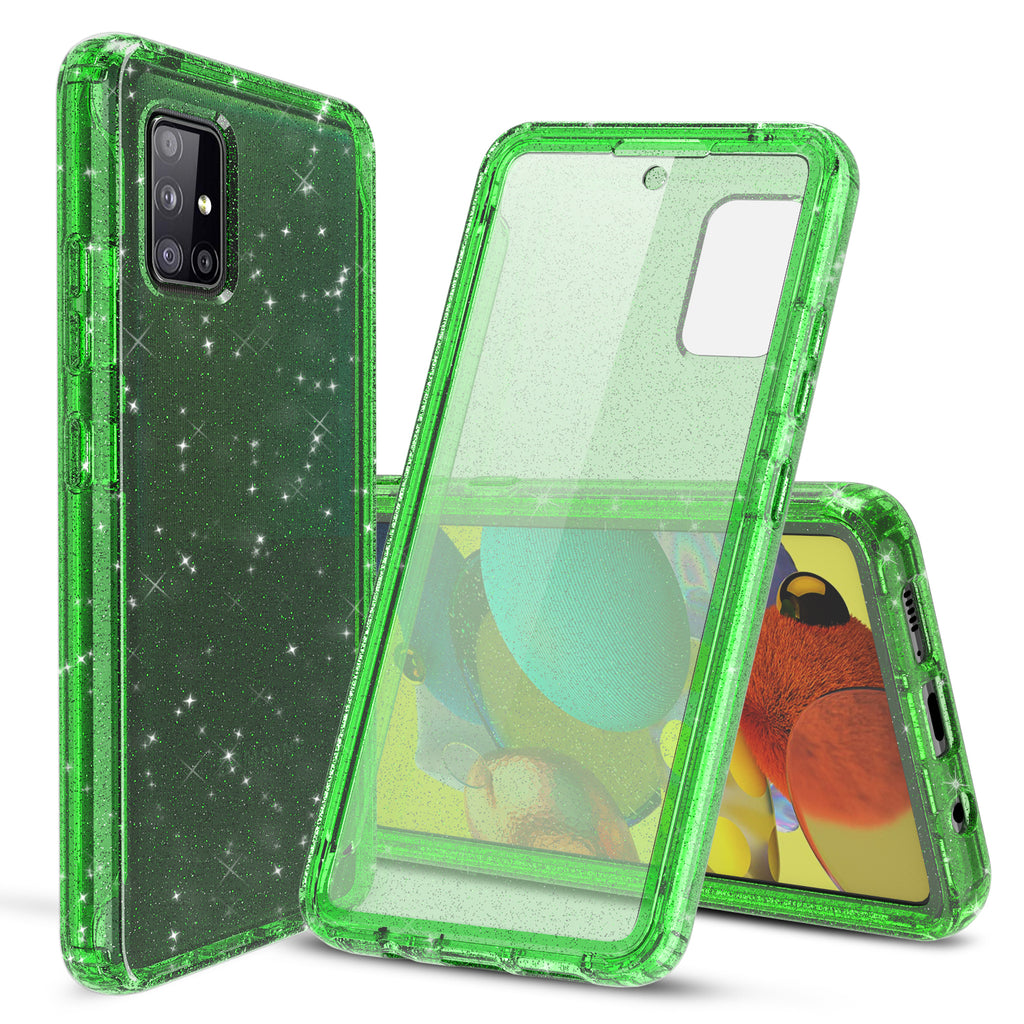 Glitter Case with Built-in Screen Protector for Samsung Galaxy A51 5G (Green)
