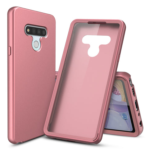 Silicone Case with Built-in Screen Protector for LG Stylo 6 (Pink Rose Gold)