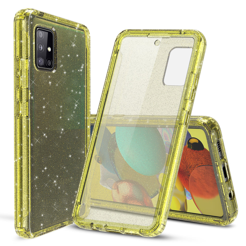 Glitter Case with Built-in Screen Protector for Samsung Galaxy A51 5G (Yellow)