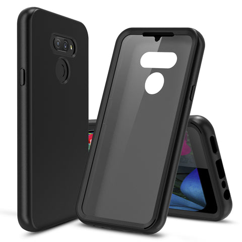 Silicone Case with Built-in Screen Protector for LG Premier Pro Plus (Black)
