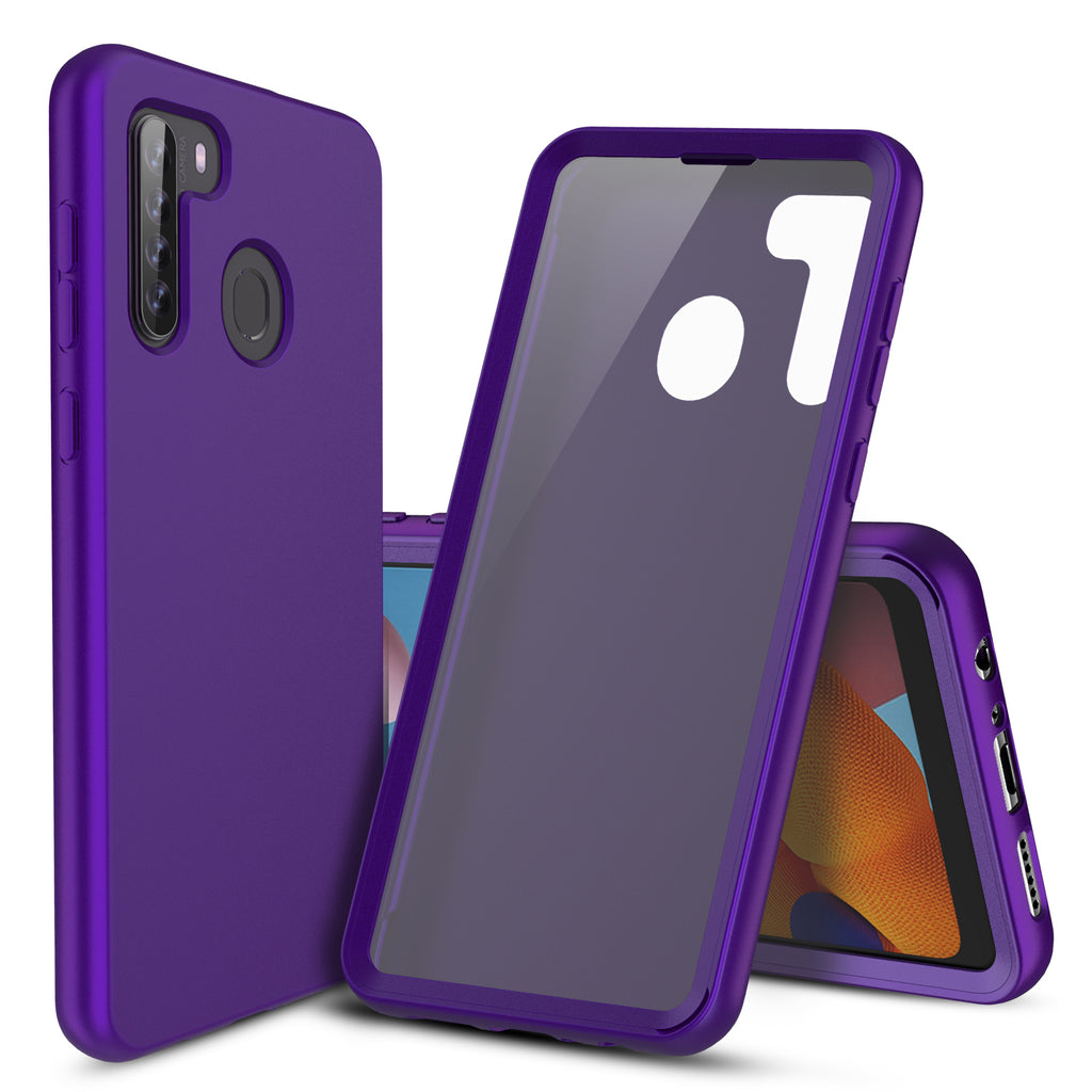 Full Body Silicone Case with Built-in Screen Protector for Samsung Galaxy A21 (Purple)