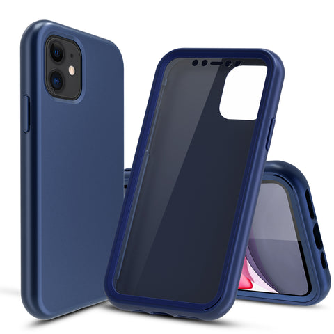 Navy Silicone Case with Built-in Screen Protector for iPhone 11