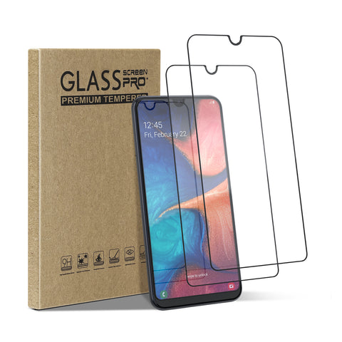 [2 Pack] Tempered Glass Screen Protector for Samsung Galaxy A20, A30