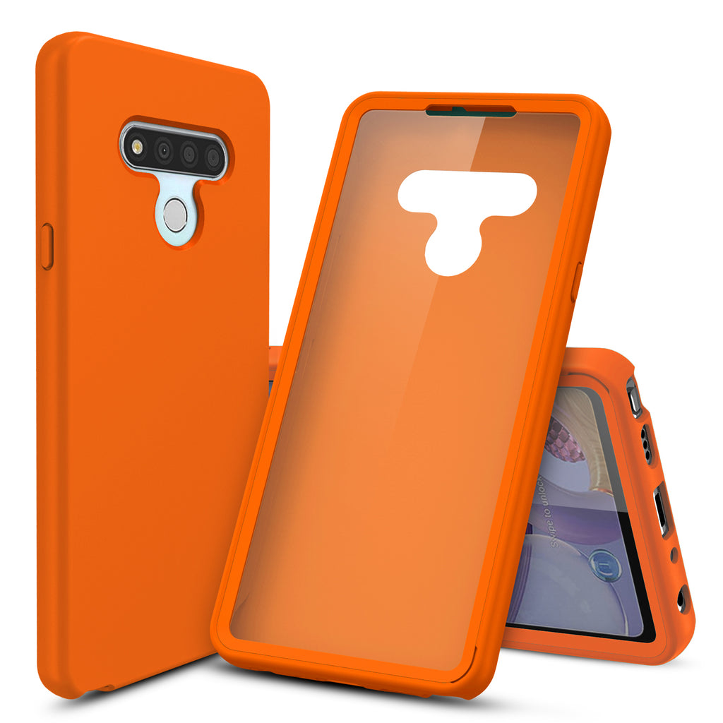 Silicone Case with Built-in Screen Protector for LG Stylo 6 (Orange)