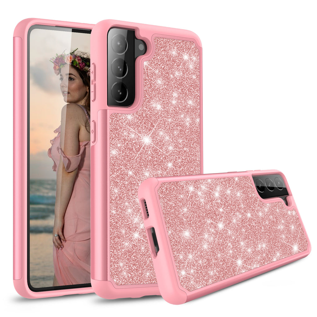 Sparkling Glitter Case for Samsung Galaxy S21 (Pink Rose Gold)