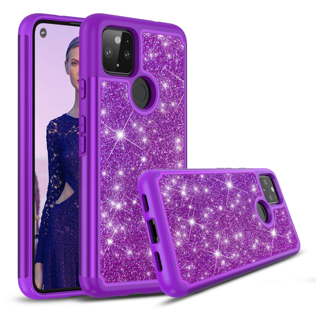 Sparkling Glitter Case for Google Pixel 4a (5G) - Purple