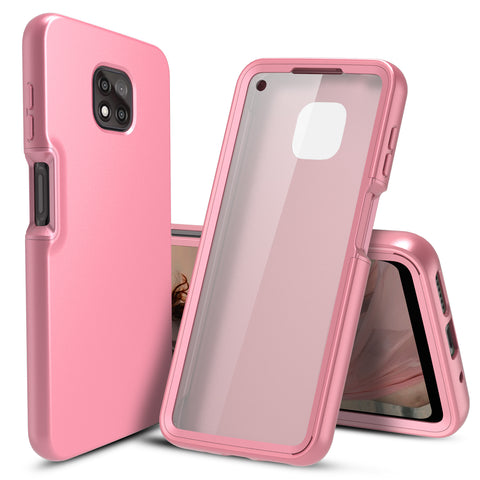 Full Body Case with Built-in Screen Protector for Motorola Moto G Power (2021) (Pink Rose Gold)