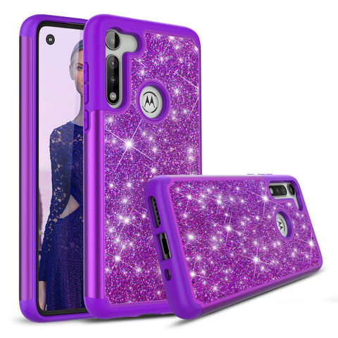 Purple Sparkling Glitter Case for Motorola Moto G Fast