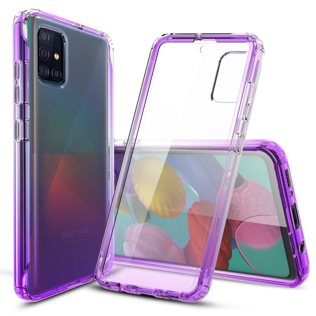 Transparent Silicone Case with Built-in Screen Protector for Samsung Galaxy A51 (Purple)