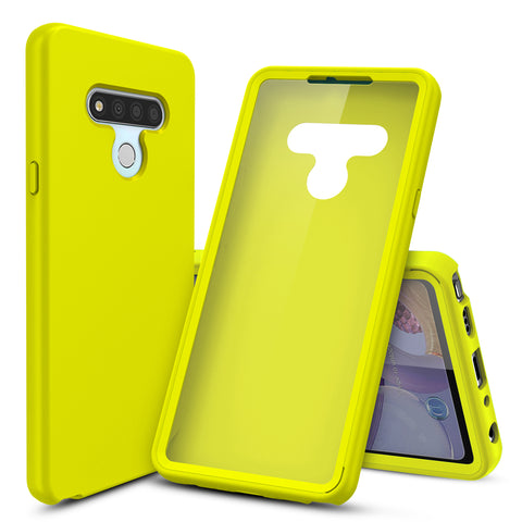 Silicone Case with Built-in Screen Protector for LG Stylo 6 (Yellow)