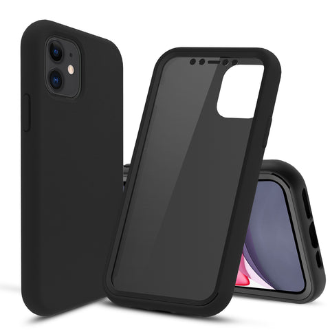 Black Silicone Case with Built-in Screen Protector for iPhone 11
