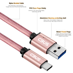 6ft Heavy-Duty Double Braided Fast Charging USB-C Cable (Pink Rose Gold)