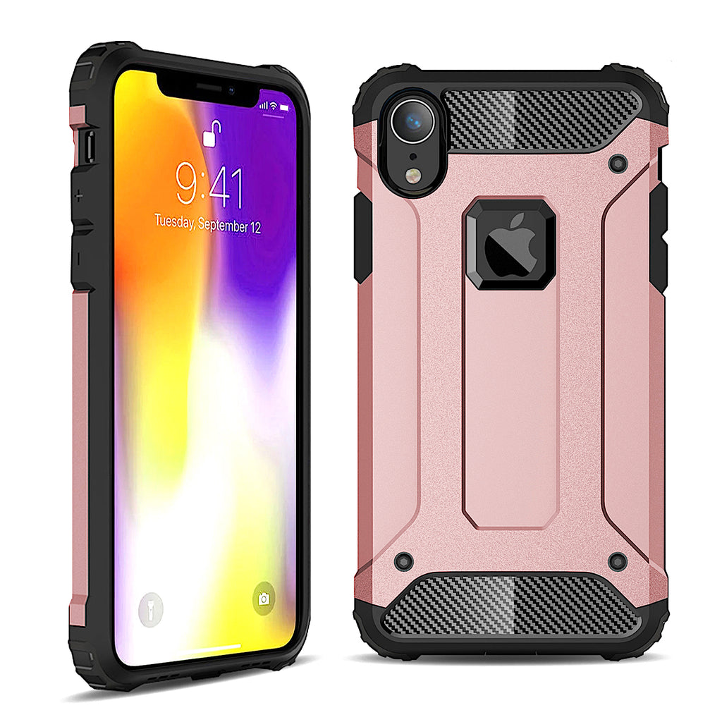 Hybrid Armor Case Hard Cover with Flex-Gel Interior for iPhone XR (Pink Rose Gold)
