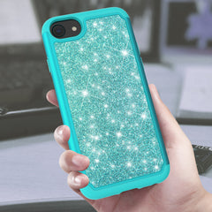 Teal Sparkling Glitter Case for iPhone SE (2020), iPhone 8, iPhone 7