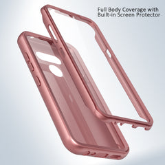 Silicone Case with Built-in Screen Protector for LG Harmony 4 (Pink Rose Gold)