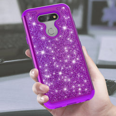 Purple Sparkling Glitter Case for LG Aristo 5, Tribute Monarch, K8X, K31