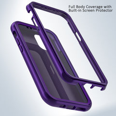 Purple Silicone Case with Built-in Screen Protector for iPhone 11