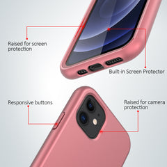 Full Body Silicone Case with Built-in Screen Protector for Apple iPhone 12 (Pink Rose Gold)
