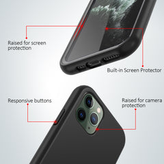 Black Silicone Case with Built-in Screen Protector for iPhone 11 Pro Max