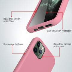 Pastel Pink Silicone Case with Built-in Screen Protector for iPhone 11 Pro Max