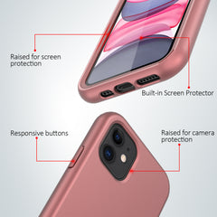Pink Rose Gold Silicone Case with Built-in Screen Protector for iPhone 11
