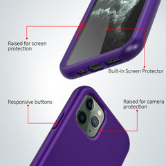 Purple Silicone Case with Built-in Screen Protector for iPhone 11 Pro Max