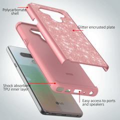 Sparkling Glitter Case for LG Stylo 6 (Pink Rose Gold)