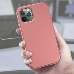 Pink Rose Gold Silicone Case with Built-in Screen Protector for iPhone 11 Pro Max