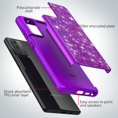 Sparkling Glitter Case for Samsung Galaxy Note 20 (Purple)