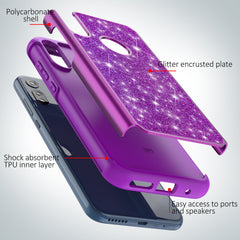 Purple Sparkling Glitter Case for Motorola Moto E (2020)