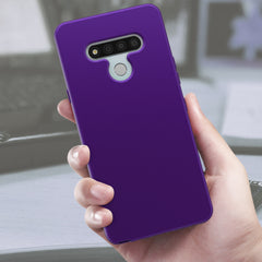 Silicone Case with Built-in Screen Protector for LG Stylo 6 (Purple)