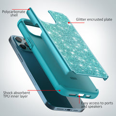Sparkling Glitter Case for iPhone 12 Pro (Teal)