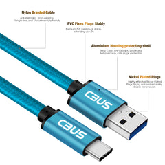 6ft Heavy-Duty Double Braided Fast Charging USB-C Cable (Electric Blue)