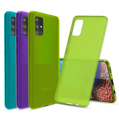 [3-Pack] Flex-Gel Silicone TPU Case for Samsung Galaxy A71 (Purple, Turquoise, Green)