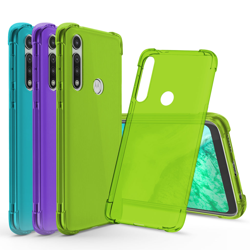 [3-Pack] Flex-Gel Silicone TPU Case for Motorola Moto G Fast (Purple, Turquoise, Green)
